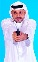Arab man pointing gun