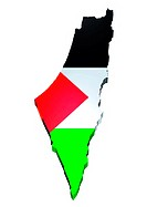 map and flag of Palestine