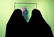 Iranian women visiting an exhibition, Tehran, Iran