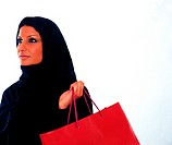 Arab woman holding a shopping bag