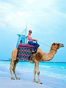 Western tourist riding a camel on the beach in Dubai, United Arab Emirates