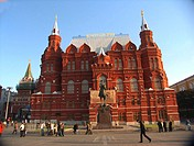 Moscow, Russia, Red Square, Historical Museum, red brick building, Russian Gothic Architecture.