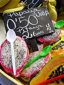 Papayas and dragon fruits. La Boquer&#237;a market. Barcelona. Spain