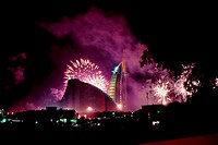 Fireworks at Burj Al Arab and Jumeirah Beach Hotel on New Year's Eve 2005, Dubai, UAE