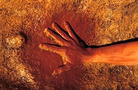 Rock art. Image 1 of 3. Reconstruction of methods of prehistoric rock art. A natural red pigment, such as ochre, was heated and applied to the rock wa...
