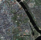 Warsaw city centre, Poland, Ikonos satellite image. North is at top. Warsaw is the capital city of Poland, with a population of around 2.5 million (as...