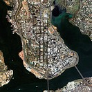 Abidjan, Ivory Coast. Satellite image of Abidjan, the largest city in and former capital of the Ivory Coast (Cote d´Ivoire), West Africa. Abidjan is a...