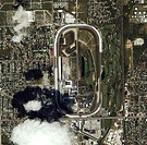 Indianapolis Speedway, USA. Satellite image of the Indianapolis Motor Speedway in Speedway, Indiana, USA. The four kilometre oval track was built in 1...