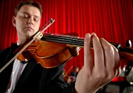 Close-Up of a Male Violinist Performing