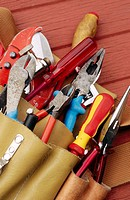 Tradesmen's tools in pouch, pliers