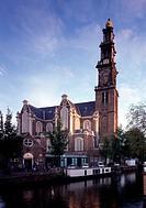 Amsterdam, Westerkerk/Blick von Nordwesten über die Prinsengracht