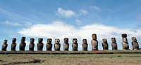 Group of moais in Easter Island. Chile