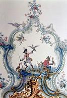 Brühl, Schloß Augustusburg/ Neues Appartement, Kabinett, Deckenmalerei, Szene mit Affen