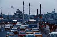 turkey, istanbul, the galata bridge and the yeni mosque ,