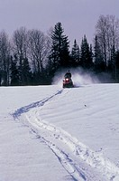 snowmobile, marc morin path, mont valin, quebec, canada