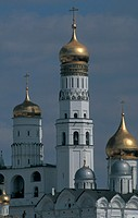 russia, moscow, detail of the bell tower of a church inside kremlin palace´s walls
