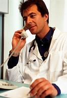 doctor phoning, inside