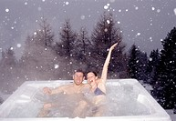 couple, taking bath, outdoor