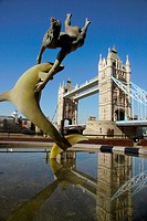 Tower Bridge and Girl with a Dolphin by David Wynne. London. England. UK