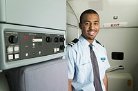 Portrait of male flight attendant