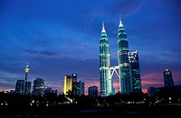 Petronas Twin Towers and KL skyline at night, Malaysia