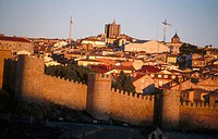 Fortified town, Cathedral in background. Avila. Spain