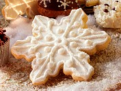 Sweet pastry biscuit shaped like a snowflake