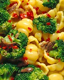 Conchiglie with broccoli and peppers