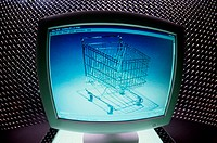 Shopping cart displayed on a computer monitor