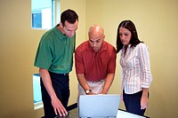 Two businessmen and a businesswoman looking at a laptop