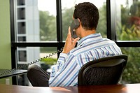 Rear view of a businessman sitting in an office using a telephone
