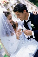 Newlywed couple toasting with glasses of champagne (thumbnail)