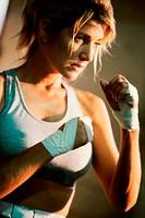 Female boxer practicing