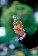 Close-up of a person's hand holding a champagne flute
