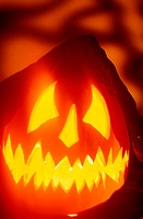 Close-up of a carved jack-o-lantern