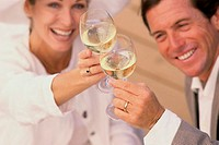 Mid adult couple toasting with glasses of wine