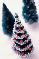 Close-up of a miniature Christmas tree
