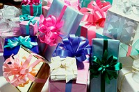 Close-up of wrapped gifts