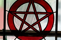 Close-up of the Star of David on a window