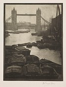 ´Tower Bridge´, 1910.Photograph by Alvin Langdon Coburn (1882-1966) of barges on the Thames with the  bridge beyond.
