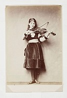 Xie Kitchin playing a violin, 1876.Photograph by Charles Lutwidge Dodgson (1832-1898), also known as Lewis Carroll, author of 'Alice in Wonderland' an...