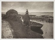 ´Marshman Going To Cut Schoof-Stuff´, 1887.Photograph by Peter Henry Emerson (1856-1936) showing a man setting out to cut reeds or other marsh plants.