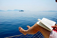 Reading aboard a yacht i Greece
