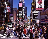 Group of people crossing a road, Times Square, New York City, New York, USA