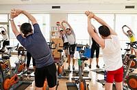 Spinning, training program for cardiovascular work and toning up in exercise bicycle. Real Club de Tenis de San Sebastián, Gipuzkoa, Euskadi.