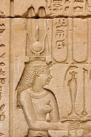 Isis on the wall of Horus temple near Edfu. Egypt