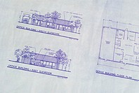 Close-up of blueprint