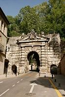 Granadas Gate, entrance to Alhambra de Granada, Granada (Andalucía). Spain.