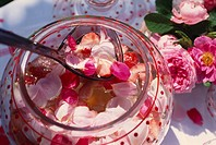 Rose punch with rose petals