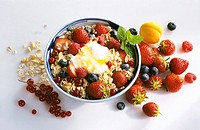 Bowl of Muesli with Fruit and Yogurt